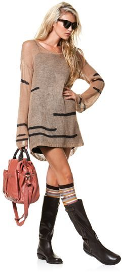 adorable: Fashion, Sweater Dresses, Sweaters Dresses, Outfit, Fall Looks, Fall Sweaters, Boots Socks, The Dresses, Knee High Socks