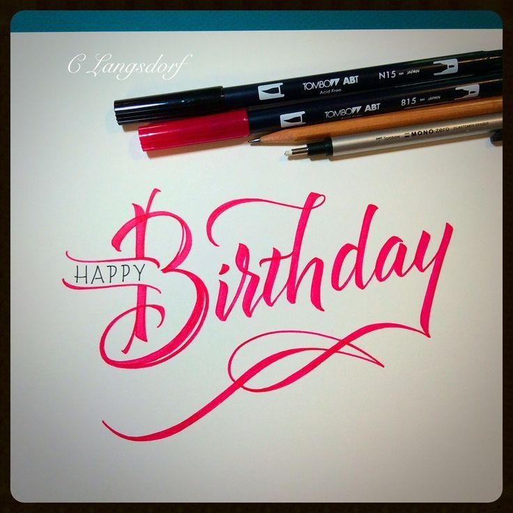 Happy bday tombow calligraphy cards and bullet