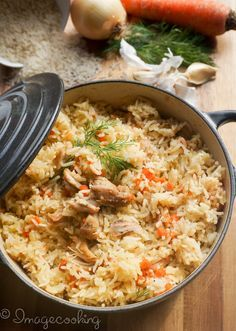 Chicken With Rice - chicken - extra virgin olive oil - medium onion - carrots - 2 garlic cloves - basmati rice - salt - pepper