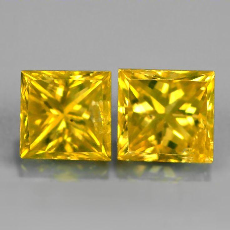 0.34 ct. Edles Paar Gelbe 3 mm Carré / Prinzess- Schliff Diamanten, SI-1