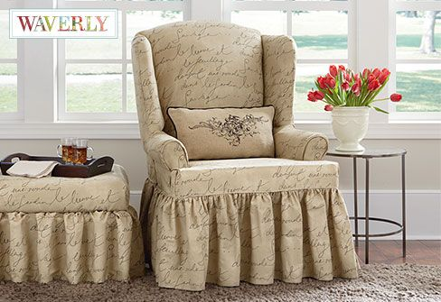 Stretch Pen Pal One Piece Wing Chair Slipcover Fun With