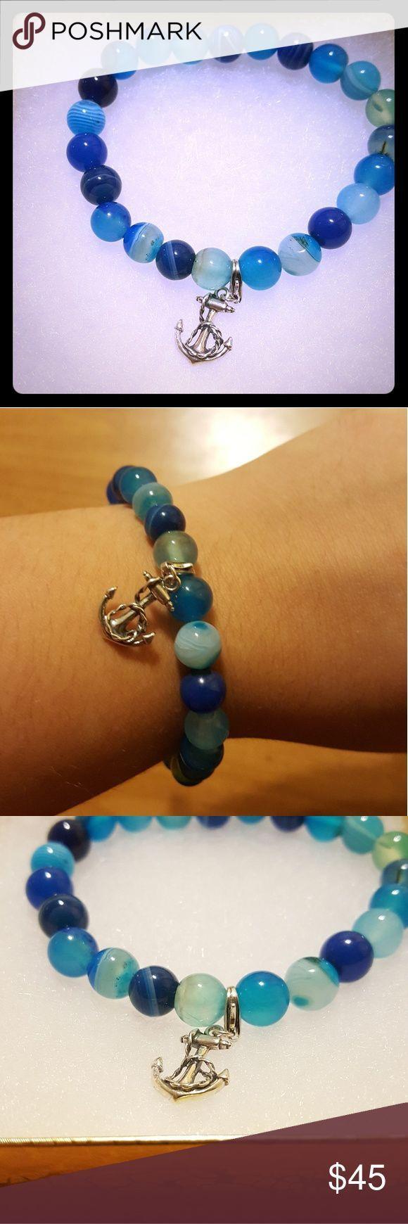 Tendance salopette 2017   Marine Blue Agate Bracelet with Anchor Beautiful marine blue ag