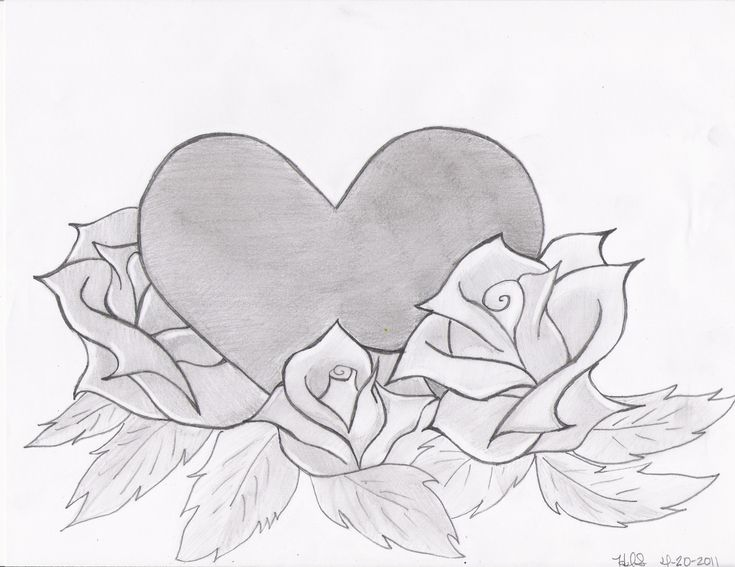Drawings Of Roses And Hearts