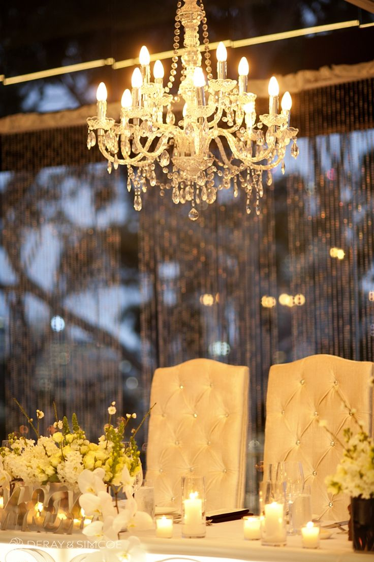 Chandelier and crystal curtain. Wedding reception styling, ideas and inspiration. Reception Venue: State Reception Centre Perth  Photography by DeRay & Simcoe
