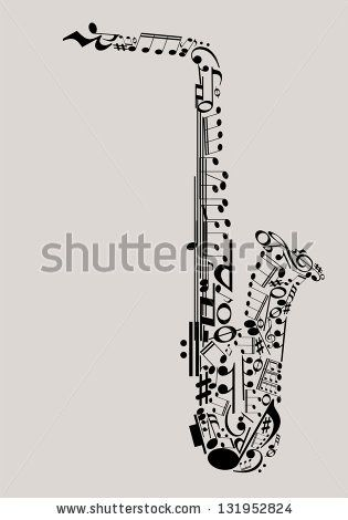 Jazz Music, saxophone made with musical symbols for poster design