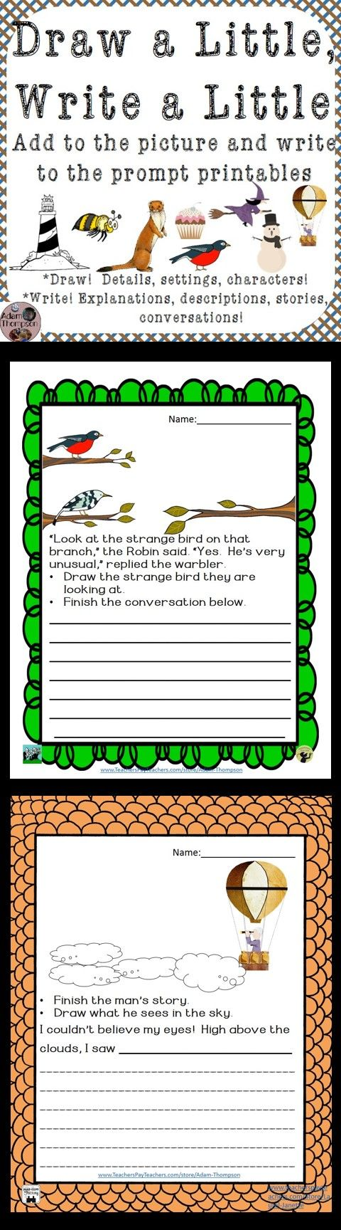These printable writing prompts include an incomplete picture for students to finish with drawing and coloring. The writing prompt, (which could be narrative, explanatory, or descriptive) is connected to the choices the student makes in their drawing, so it is a nice, quick, no-prep printable that provides an opportunity for creativity in drawing AND writing.