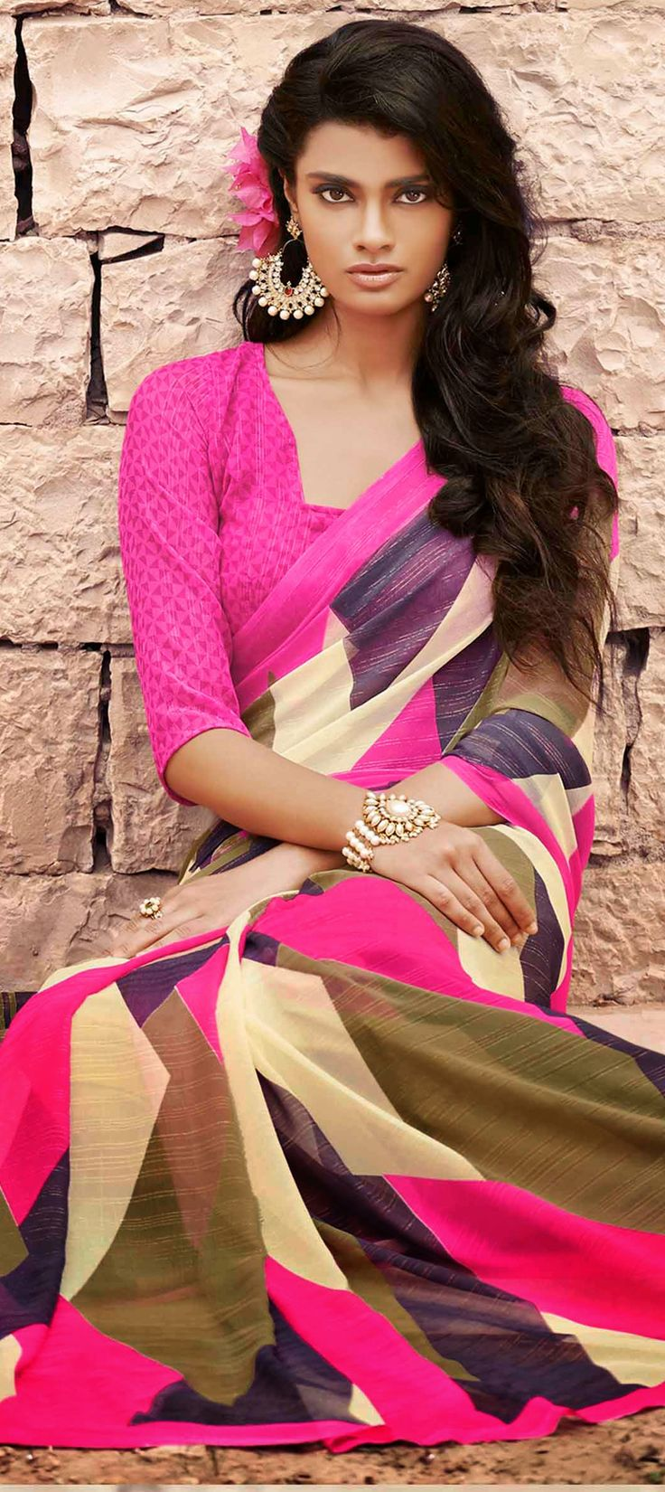 153714: PRINTS TO WEAR IN 2015 - this season, wear the most exotic prints in parties. #saree #Partywear #sale #OnlineShopping #IndianFashion #CocktailPartyLook