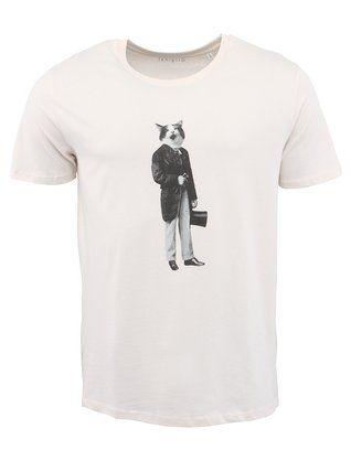 ZOOT Originál - Krémové pánské triko  Kocourek
