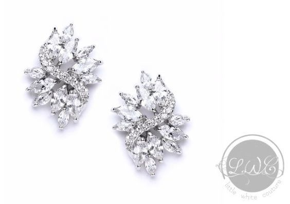 Bridal Earrings   Maya Marquis Crystal Stud Earrings by LITTLE WHITE COUTURE
