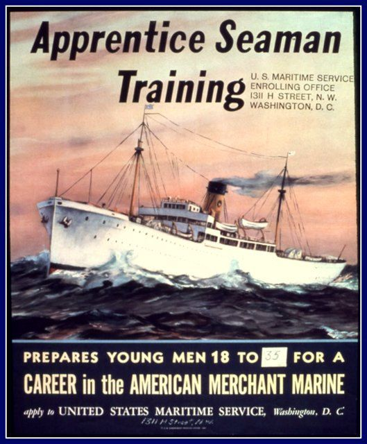US Merchant Navy Fleet Poster Print 1940s by BloominLuvly on Etsy, $10.00