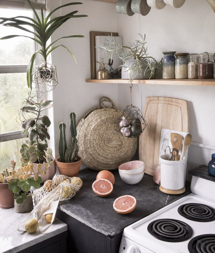 One Couple Turned A 650 Square Foot Rental Into Plant Filled Boho Oasis Apartment KitchenKitchen