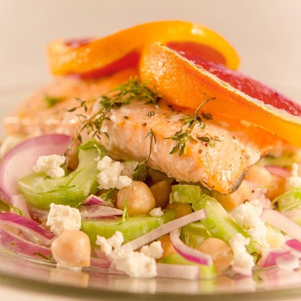 Blood Orange Roasted Salmon with Chickpea and Cucumber Salad