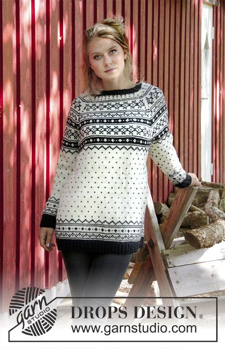 Telegram For Her - Knitted jumper with multi-coloured pattern and raglan. Size: S - XXXL Piece is knitted in DROPS Karisma. Free knitted pattern DROPS 184-21