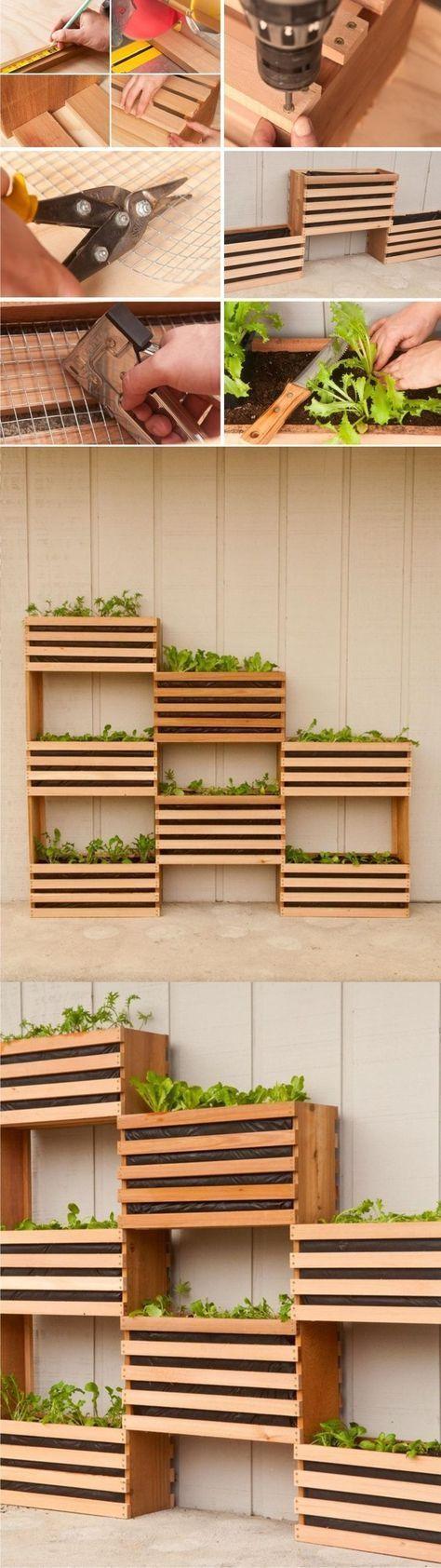 Hervorragende Idee für den Innengarten. Platzsparender vertikaler Gemüsegartengarten