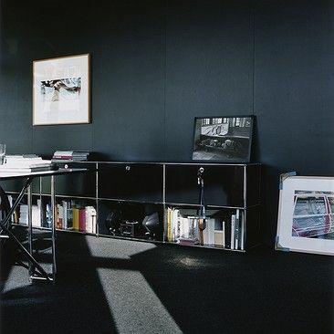 USM Haller private office: USM Haller black sideboard with storage cabinets