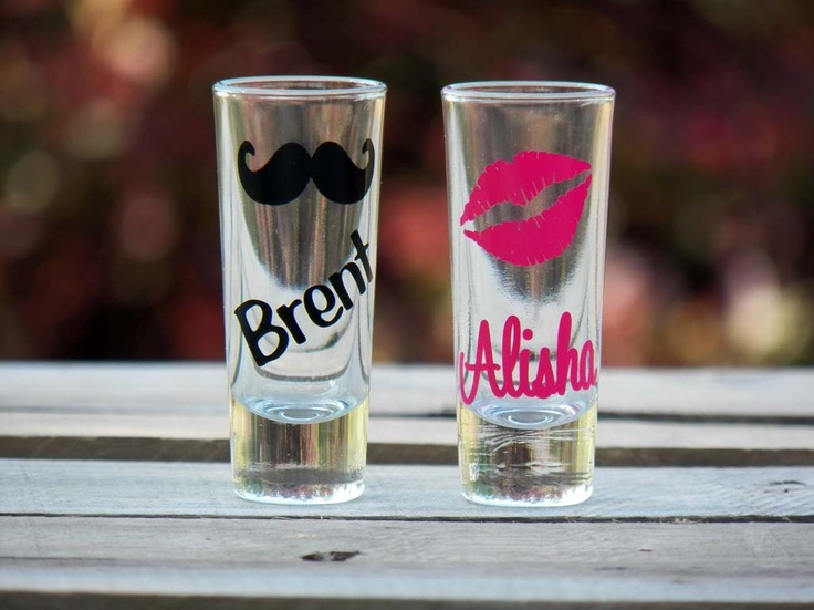 2 Personalized Mustache and Lips Wedding Shot Glasses- Fun Bridesmaid Gifts and Groomsman Gifts. $10.00, via Etsy.