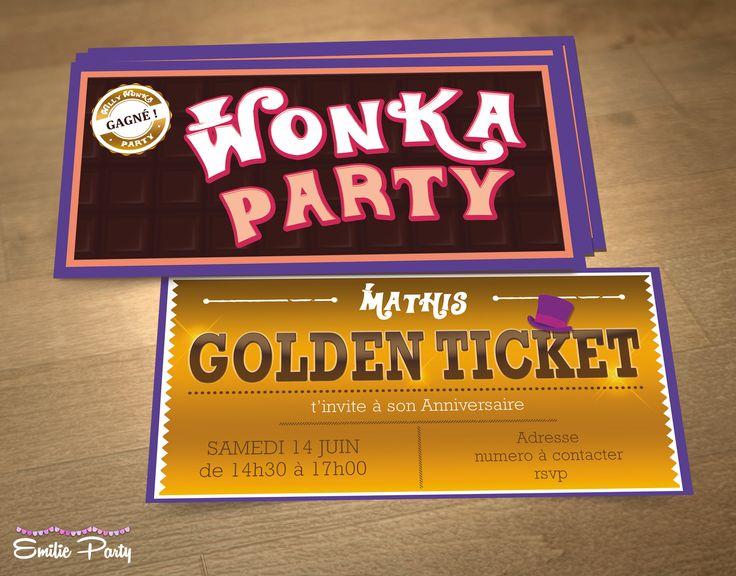 invitation pour go ter d 39 anniversaire th me wonka party f tes et invitations. Black Bedroom Furniture Sets. Home Design Ideas
