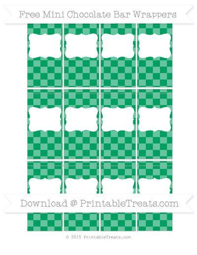 Free Shamrock Green Checker Pattern DIY Mini Chocolate Bar Wrappers