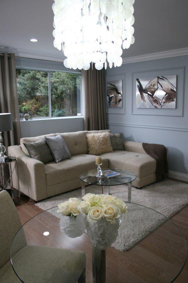 kleines wohnzimmer einrichten graue wandfarbe beige ecksofa - Wandfarbe Kleines Wohnzimmer