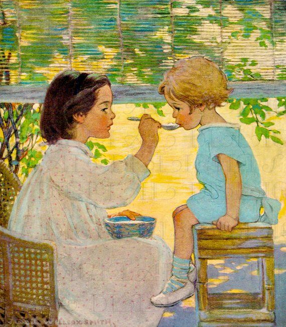 Lovely Little Girl Feeds Brother! Jessie Wilcox Smith. VIintage Digital llustration. Vintage