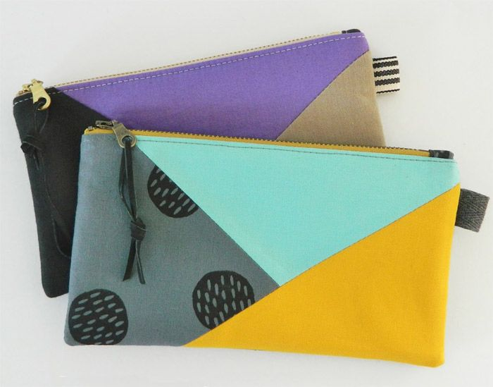 Color Block Pouch Free Tutorial DIY