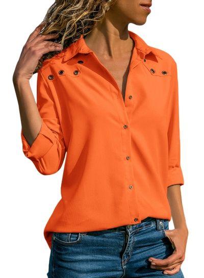 7308bec6c25 Turn-Down Collar Long Sleeve Loose Button Down Shirt