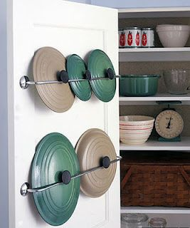 neat way to organize your pot lids in the kitchen