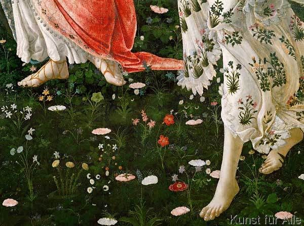 Sandro Botticelli - La Primavera. Feet on the meadows. Detai: