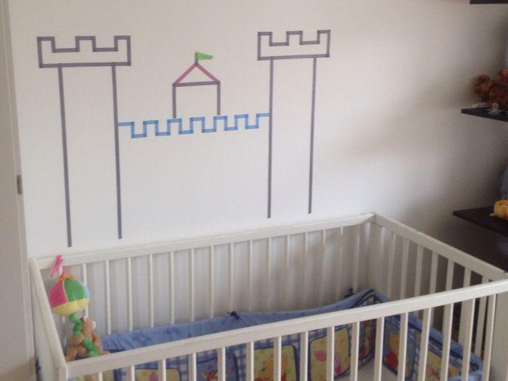 Borg til drengeværelset lavet med masking tape - washi tape. #boysroom #washi #castle