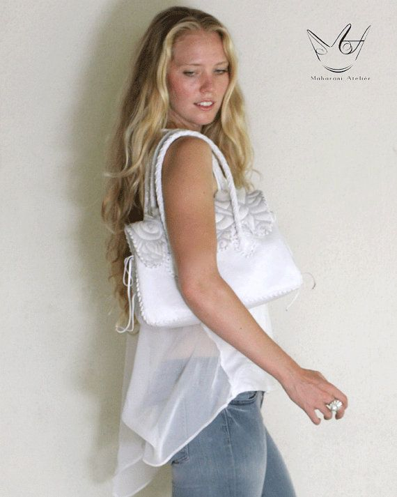 WHITE Leather Bag by MAHARANIatelier on Etsy, $180.00