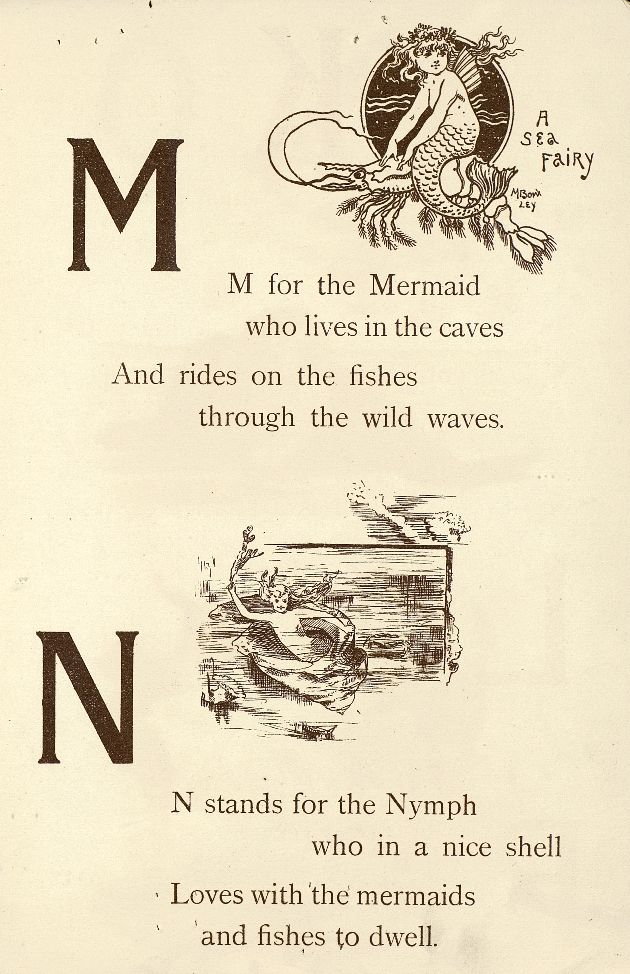 "Fairyland ABC - Father Tuck's ""Alphabet"" Series, 1902. ""M for Mermaid, N for Nymph"""