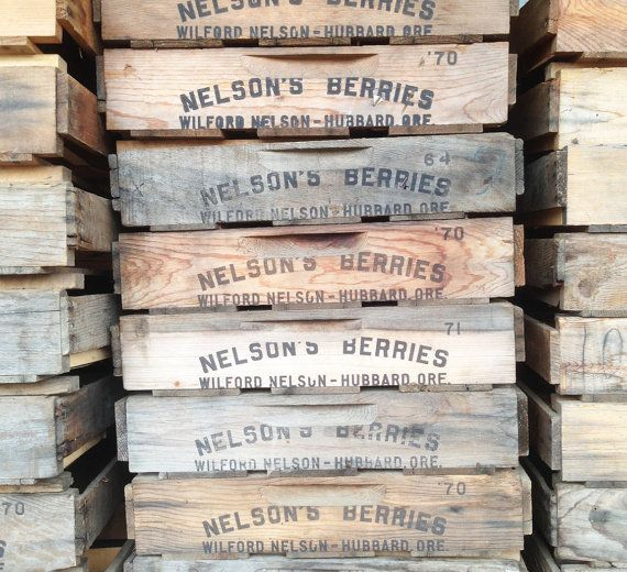 Locally salvaged from Nelson's Berry farm in Hubbard, OR, these rustic wooden crates have many practical uses today: use them to arrange your table settings, organize your book shelves or -- whatever you'd like!