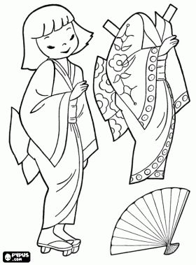 japanese doll to play dress up with kimono coloring page lots of different countries boy and. Black Bedroom Furniture Sets. Home Design Ideas