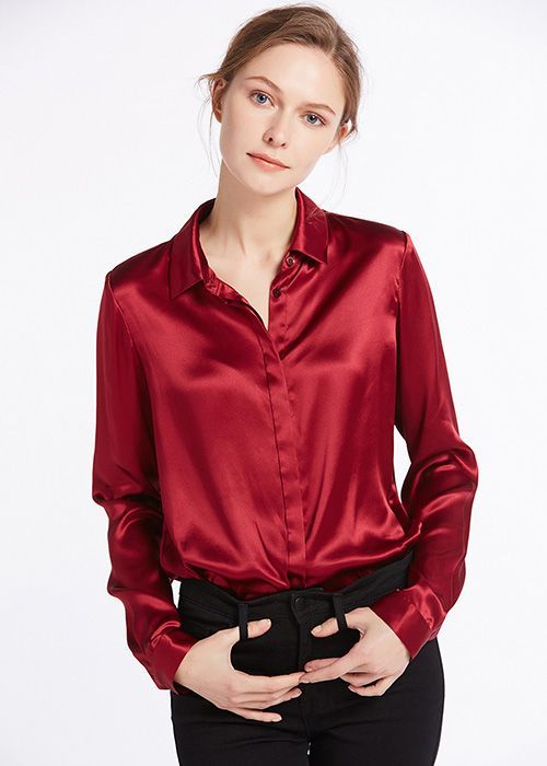 fbe90a54f1a776 22MM Basic Concealed Placket Silk Shirts