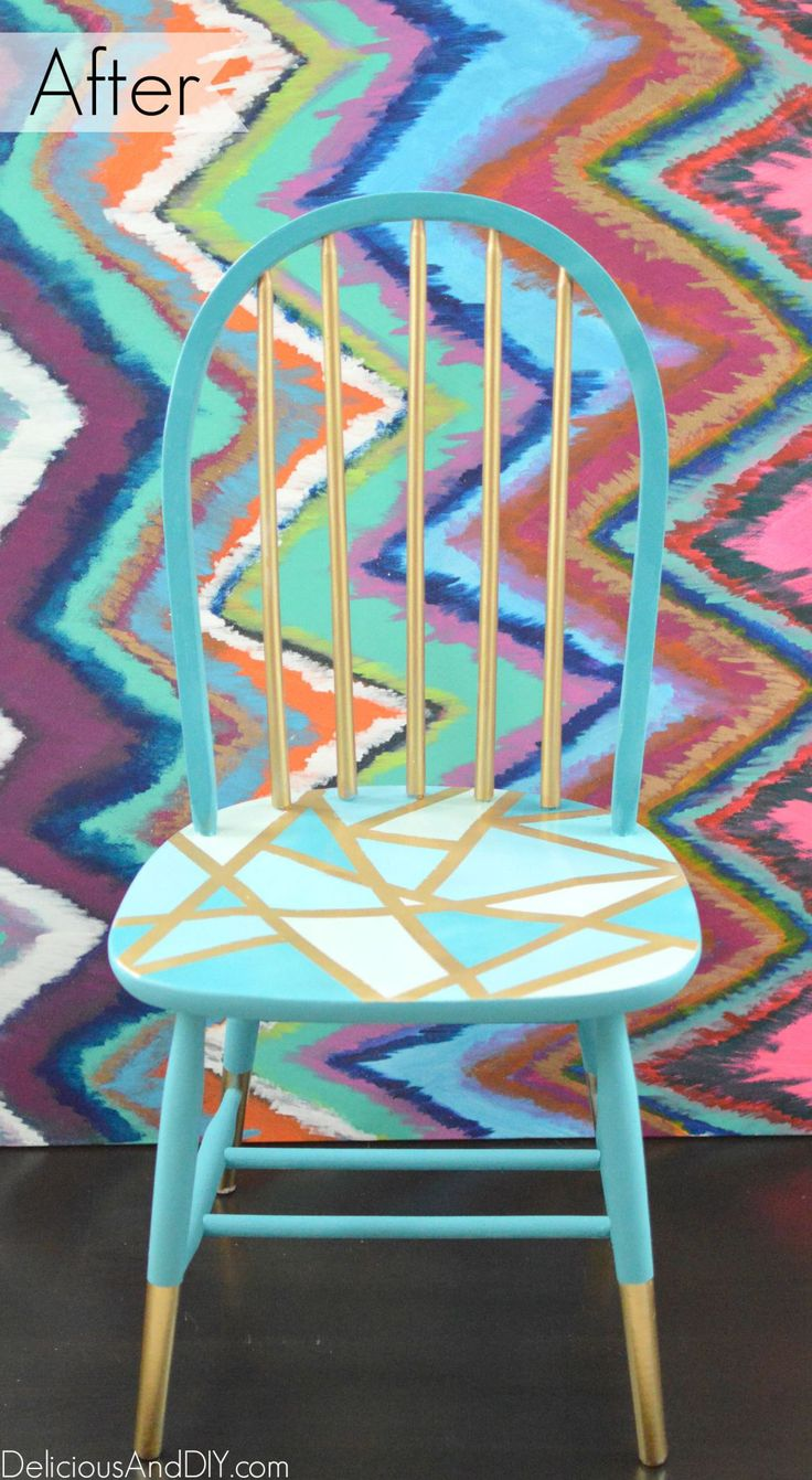 Wooden Chair Makeover - Delicious And DIY                                                                                                                                                                                 More