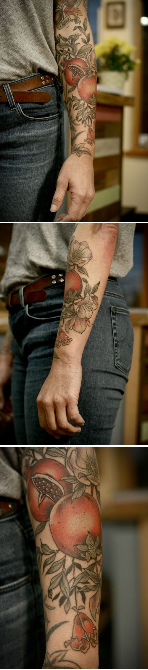 omegranates, little pomegranate flowers and hellebore. kirsten makes #tattoos