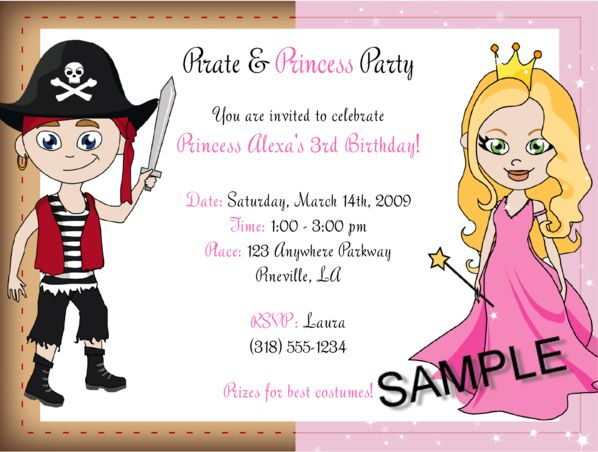 202 best Kids Birthday Party Invitations images – Princess and Pirate Birthday Invitations