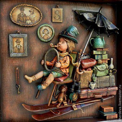 """Фантазийные сюжеты ручной работы. Ярмарка Мастеров - ручная работа. Купить """"Туда и обратно"""" объемная картина, дерево, папье-маше. Handmade."""