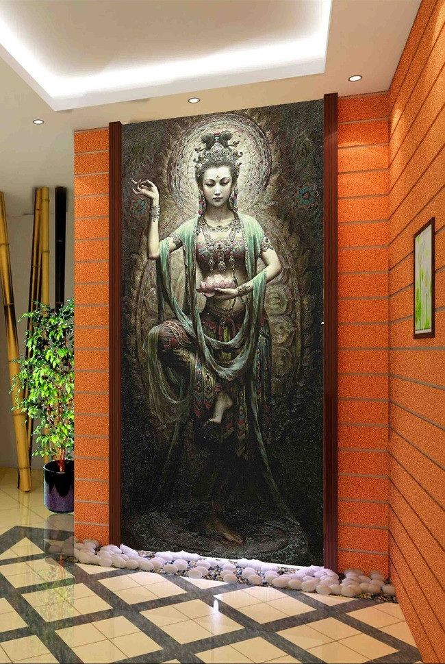 $30 3d room wallpaper custom mural non-woven picture 3d Dunhuang Buddha dance porch painting photo 3d wall murals wallpaper(China (Mainland))