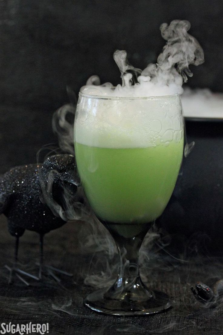 Witch's Brew Halloween Punch - a spooky, sparkling lime punch the whole family will love . |  SugarHero.com