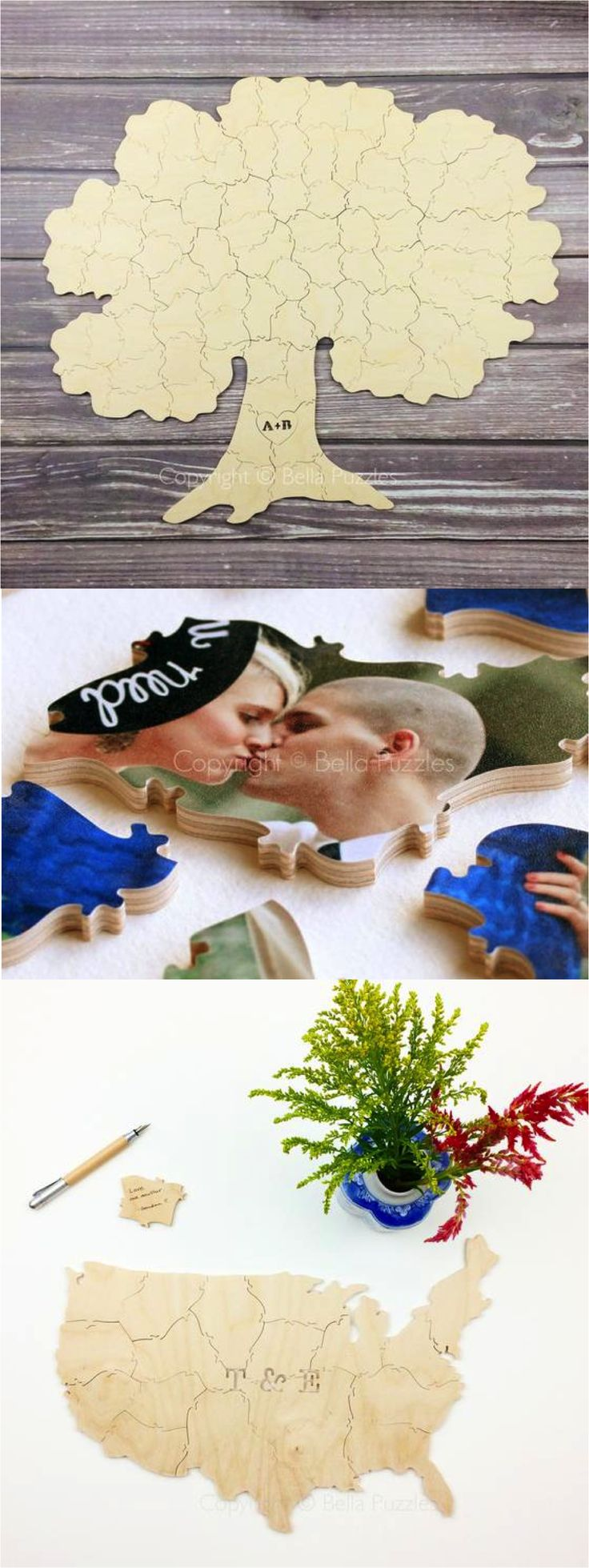 Gorgeous custom puzzles make the most beautiful and original alternative to wedding guest books. These can be personalized with your photo or even a state or country that has special meaning to you. Such a thoughtful and creative touch for your big day! | Made on Hatch.co by independent designers and makers who care!