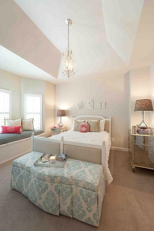 Exceptional Feminine Bedroom With Chandelier, Upholstered Headboard, U0026 Antiqued Mirrored  Furniture.