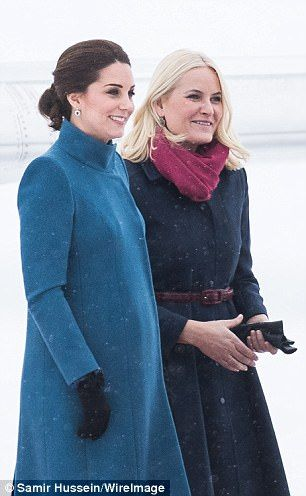 As the Duchess of Cambridge stepped out with Princess Mette-Marit during Kate and William'...