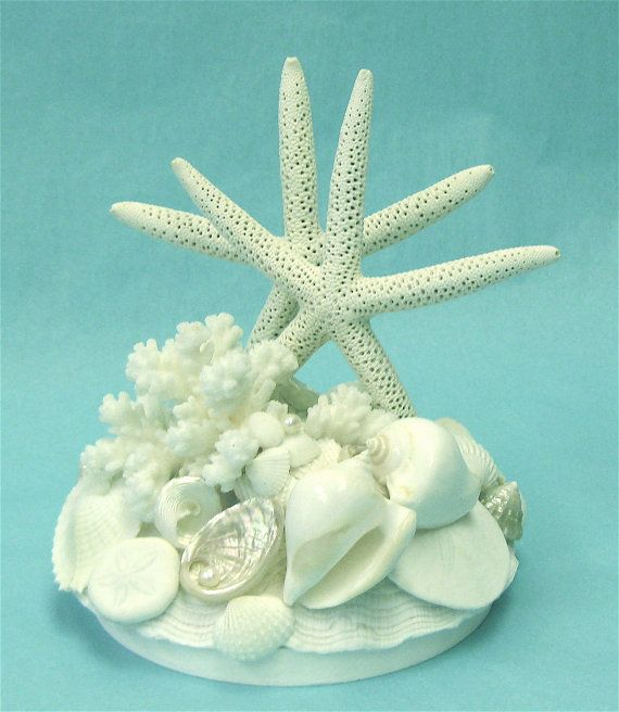 Wedding Cake Topper with Starfish, Shells and Coral.