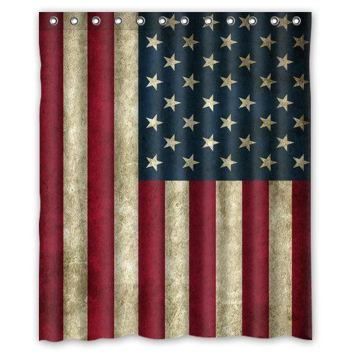"American Flag Waterproof Bathroom Custom Shower Curtain 60""(w) x 72""(h) Inches(100% Polyester) June Household"