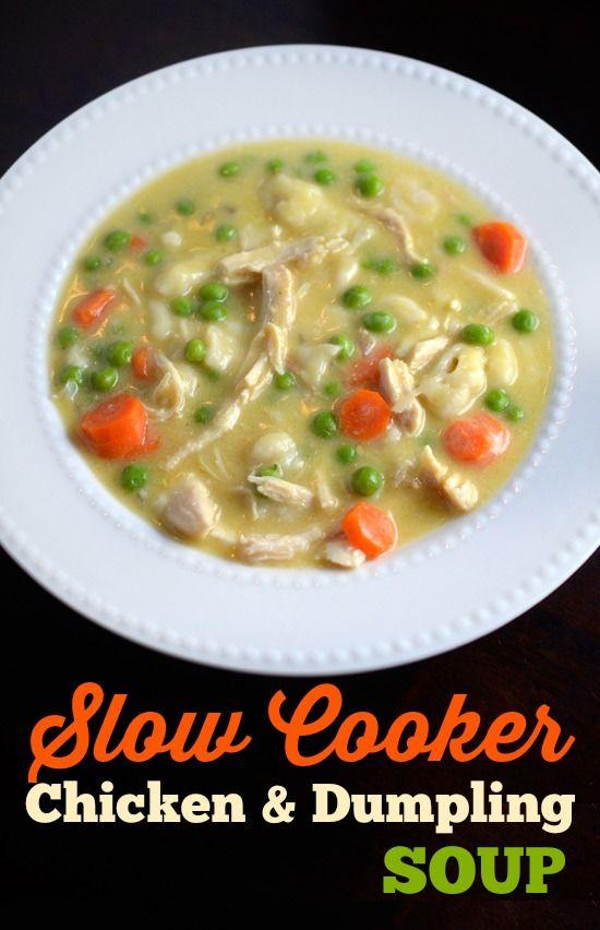 Slow Cooker Chicken & Dumpling Soup recipe - Creamy chicken soup with dumplings, peas and carrots