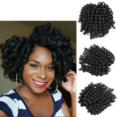 8 Quot Black Jumpy Wand Curl Twist Crochet Braids Kanekalon