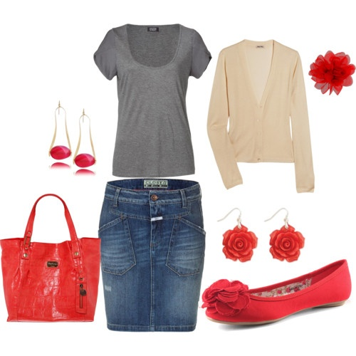 Got a thing for the jean skirts right now!!!: Red Accessories, Dreams Closet, Jeans Skirts Outfits, Jeans Outfits, Red Shoes, Cute Outfits, Jean Skirts, Red Accent, Denim Skirts