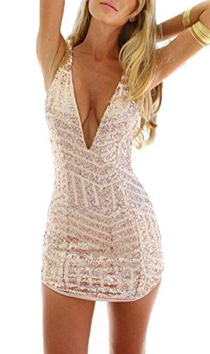 Womens Sexy Plunging V Neck Sleeveless Sequin Bodycon Halter Mini Clubwear Dress ** You can find more details at http://www.amazon.com/gp/product/B01DBU90MO/?tag=passion4fashion003e-20&lm=170816074114