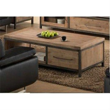 Hamburg Solid Acacia 2 Drawer Coffee Table in Wire Brush - 129cm